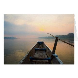 Mañana del lago con el barco felicitaciones