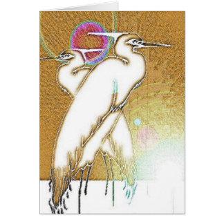 Mañana del pájaro de la garza - tarjeta de nota