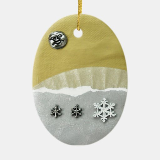 Mañana del solsticio de invierno - collage ornamento de navidad