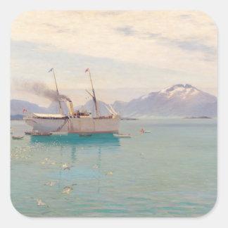Mañana del verano en Molde, 1892 Pegatina Cuadrada
