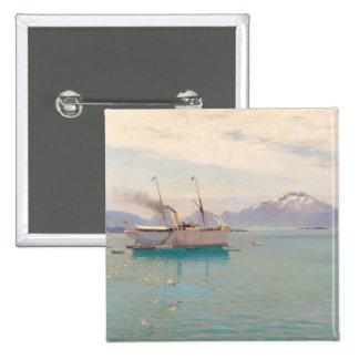 Mañana del verano en Molde, 1892 Pin Cuadrado