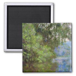 Mañana en el Sena cerca de Giverny Claude Monet Imán Cuadrado
