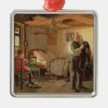 Mañana en la casa de campo de un portero, 1874 adorno navideño cuadrado de metal