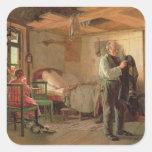 Mañana en la casa de campo de un portero, 1874 pegatina cuadrada