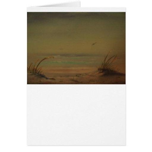 Mañana en la línea de productos de la playa tarjeta de felicitación