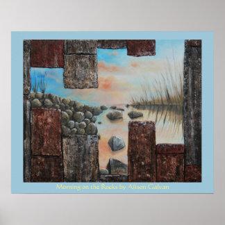 Mañana en las rocas del artista fino Alison Galvan Póster