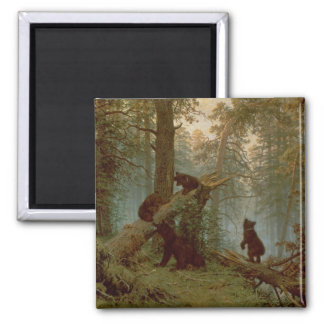 Mañana en un bosque del pino, 1889 imán cuadrado