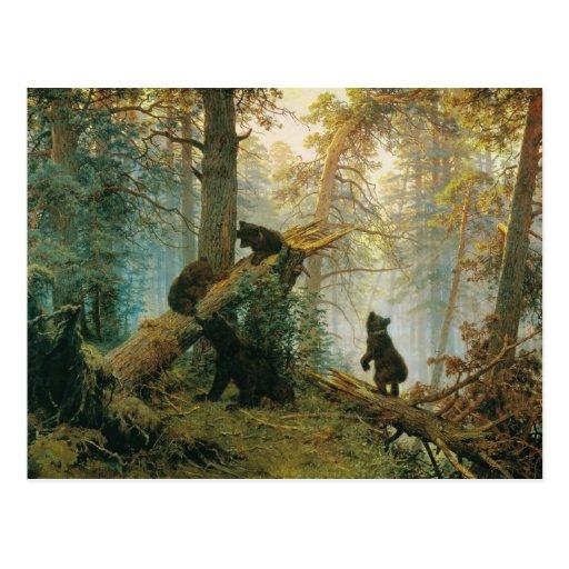 Mañana en un bosque del pino de Ivan Shishkin Tarjeta Postal