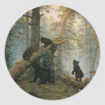 Mañana en un bosque del pino pegatina