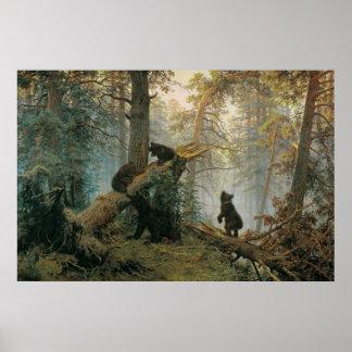 Mañana en un bosque del pino póster
