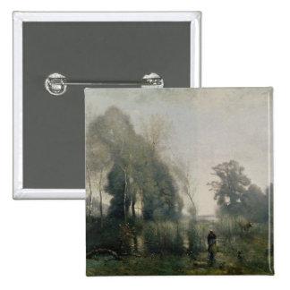 Mañana en Ville-d'Avray o, el Cowherd, 1868 Pin Cuadrado