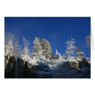 Mañana escarchada del invierno tarjeta de felicitación