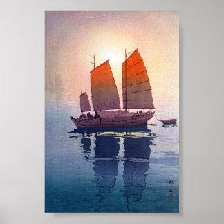 Mañana oriental fresca de Hiroshi Yoshida del japo Poster
