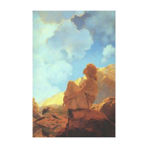 Mañana (primavera), bella arte de Maxfield Parrish Lona Estirada Galerias