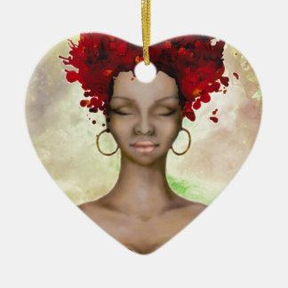 Mañana roja loca del pelo adorno navideño de cerámica en forma de corazón