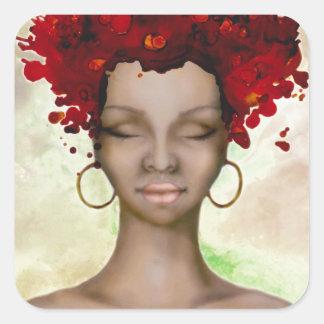Mañana roja loca del pelo pegatina cuadrada