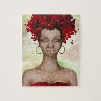 Mañana roja loca del pelo puzzle