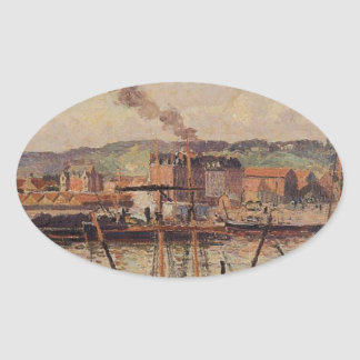 Mañana, Ruán, los muelles de Camille Pissarro Pegatina Ovalada