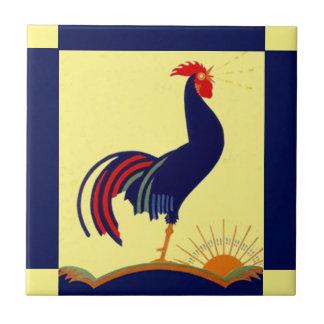Mañana Sun del cuervo del gallo del arte popular Azulejo Cuadrado Pequeño