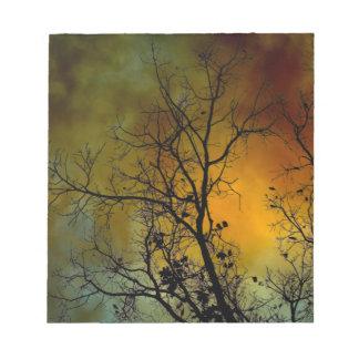 Mañana tempestuosa con la libreta del árbol blocs de papel