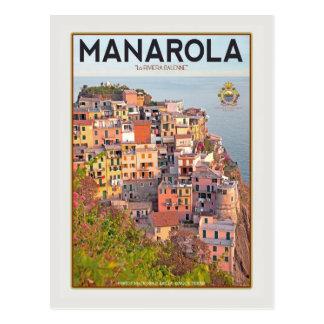 Manarola Vineyard Harbor - on white Post Cards