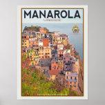 Manarola Vineyard Harbor - on white Poster