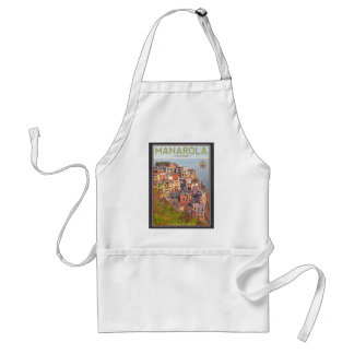 Manarola Vineyard Sunset - On Black Adult Apron
