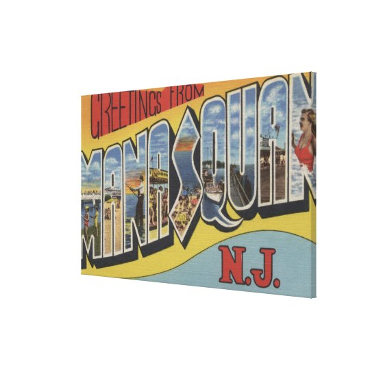 Manasquan, New Jersey - Large Letter Scenes 2 Canvas Print