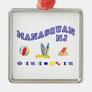 Manasquan NJ - Deletreo marítimo Adorno Cuadrado Plateado