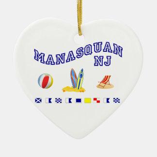 Manasquan NJ - Deletreo marítimo Adorno De Cerámica En Forma De Corazón