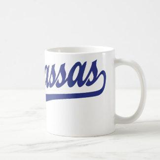 Manassas script logo in blue mug