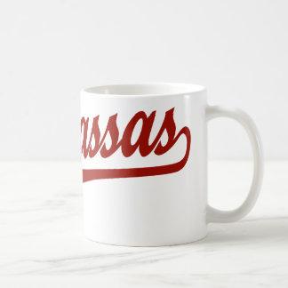 Manassas script logo in red mug