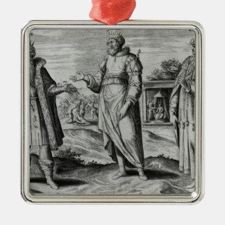 Manasseh  Amon  and Josiah Square Metal Christmas Ornament