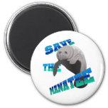 Manatee 2 Inch Round Magnet