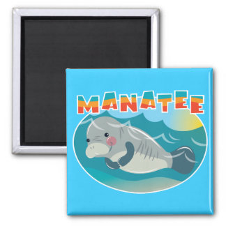 Manatee 2 Inch Square Magnet
