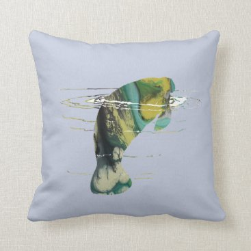 Beach Themed Manatee art throw pillow