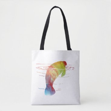 Beach Themed Manatee art tote bag