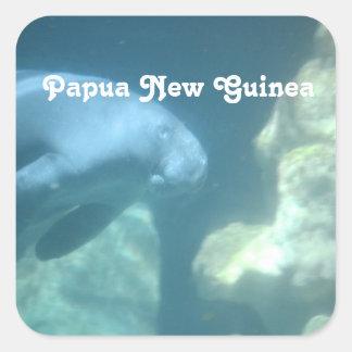 Manatee de Papúa Nueva Guinea Pegatina Cuadrada