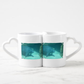 Manatee Floating on the Ocean Floor Lovers Mugs