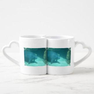 Manatee Floating on the Ocean Floor Lovers Mug Sets