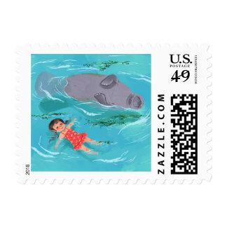 Manatee fun postage stamp