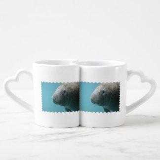 Manatee grande subacuático set de tazas de café