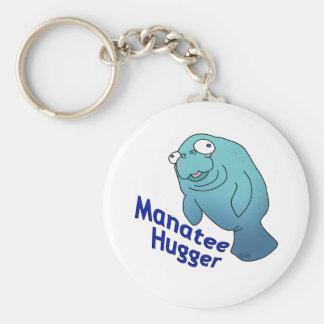 Manatee Hugger Basic Round Button Keychain