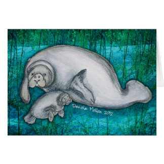 Manatee Mama and Pup Notecard Stationery Note Card