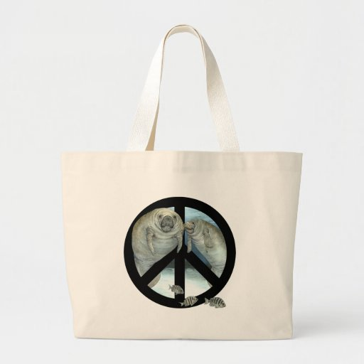 manatee peace canvas bags