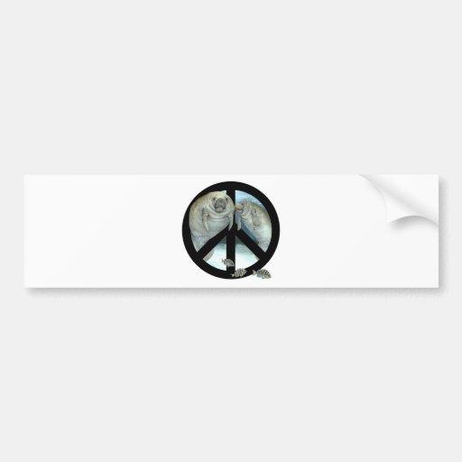 manatee peace car bumper sticker
