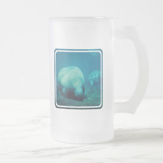 Manatee Photo  Frosted Beer Mug