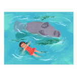 Manatee play time post card