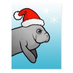 Manatee Santa del navidad Postal
