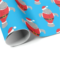 Manatee Santa Outfit Animal Novelty Christmas Wrapping Paper
